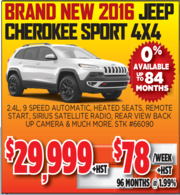 New 2016 Jeep Cherokee Sport 4X4 Toronto